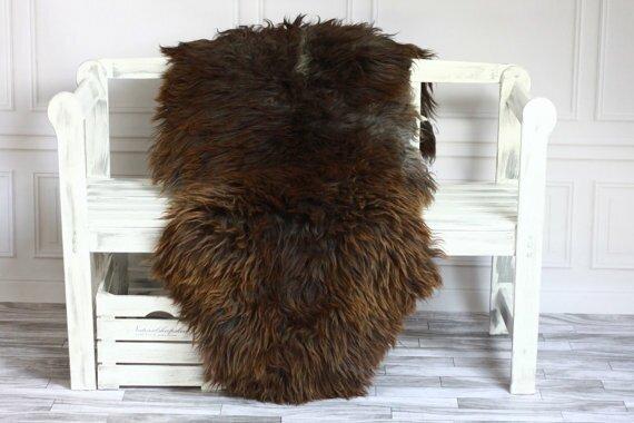 Genuine Natural Sheepskin Soft Wool Dark Brown Area Rug by Canada Wool