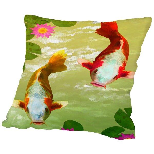 Asia Fish Koi Sealife Throw Pillow by East Urban Home