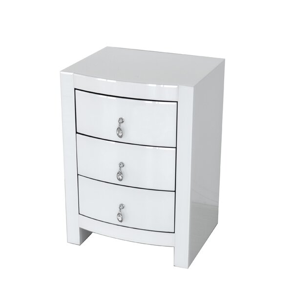 Juno Curved 3 Drawer Nightstand by Rosdorf Park
