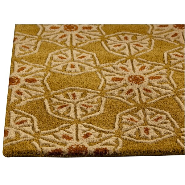 Normandie Hand-Tufted Gold/Ivory Area Rug by Hokku Designs