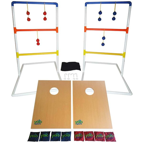 Ultimate Toss Duo 10 Piece Cornhole and Ladder Ball Set by Yolo Sports