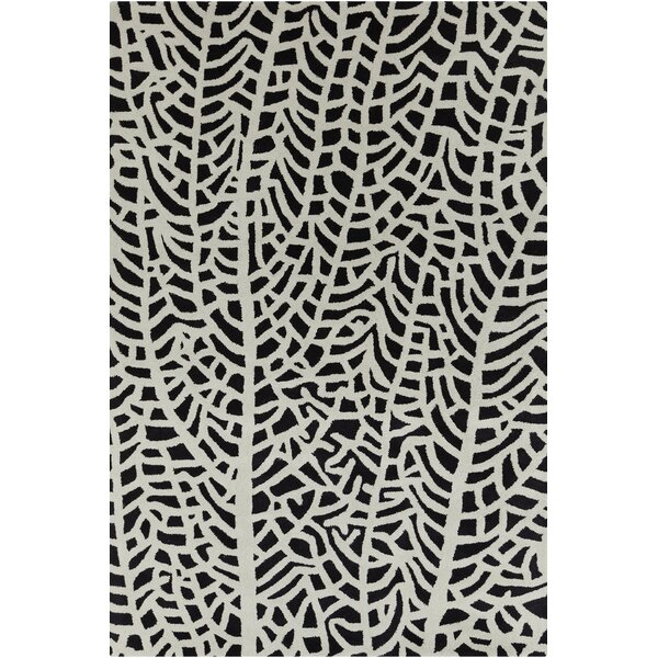 Gibbons Patterned Contemporary Wool Black/Ivory Area Rug by Bungalow Rose