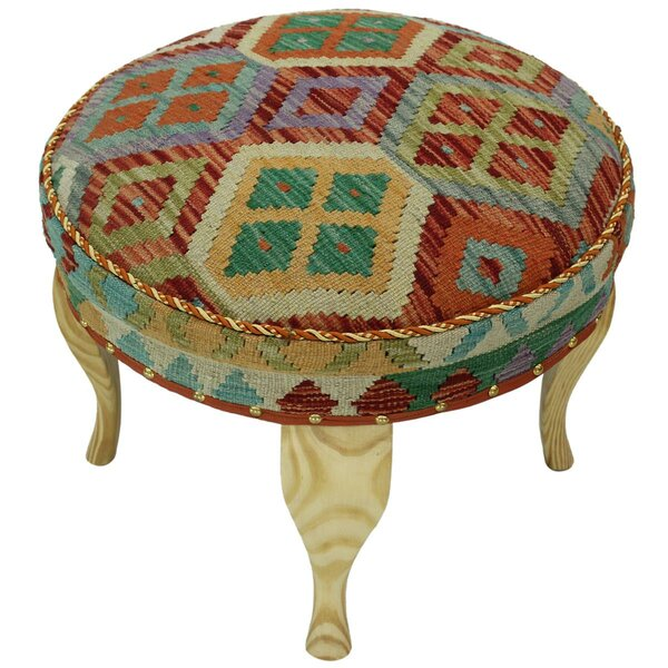 Stimpson Kilim Upholstered Handmade Ottoman By Bloomsbury Market Today Only Sale