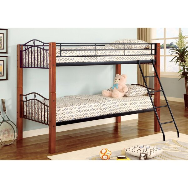 Agosto Metal and Wood Casual Twin over Twin Bunk Bed by Harriet Bee