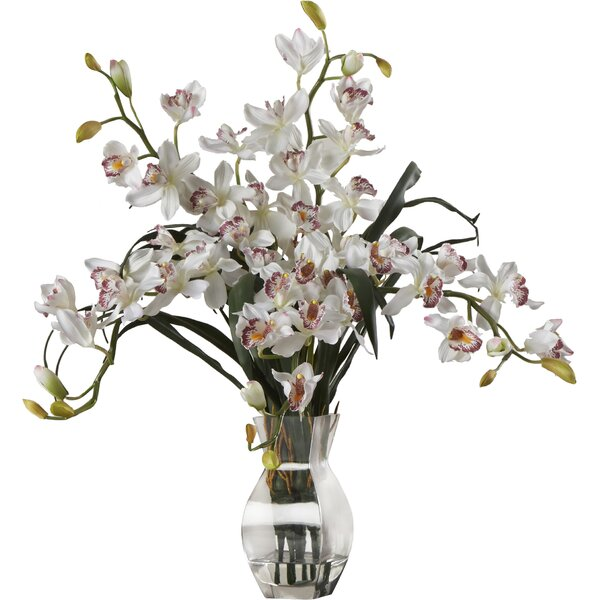 Orchid Silk Flower Arrangement in White by World Menagerie