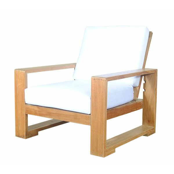 Lochlan Teak Recliner Patio Chair with Sunbrella Cushions by Rosecliff Heights