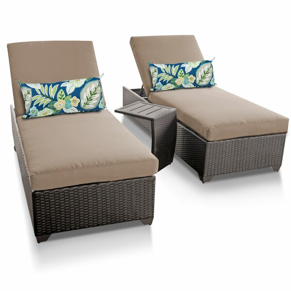 Classic Reclining Sun Lounger Set with Table (Set of 2)
