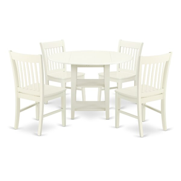 Tyshawn 5 Piece Drop Leaf Breakfast Nook Solid Wood Dining Set by Charlton Home Charlton Home