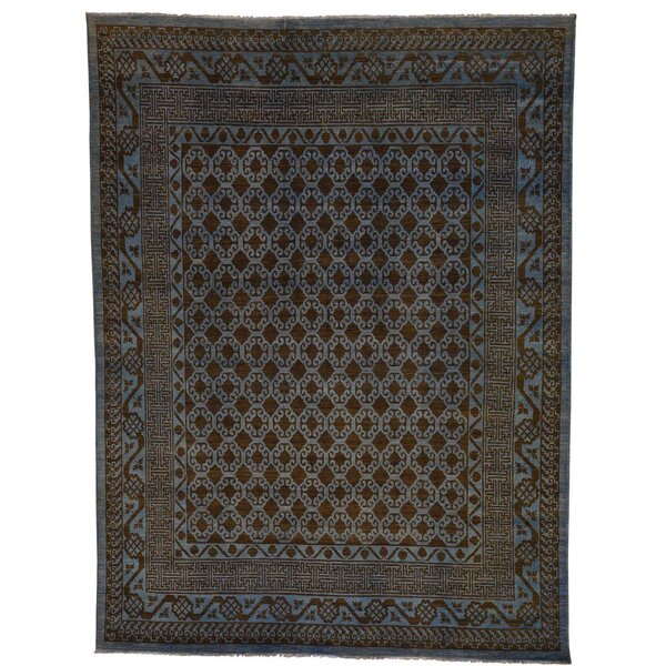 One-of-a-Kind Bagby Serab Overdyed Vintage Hand-Knotted Light Blue Area Rug by Isabelline