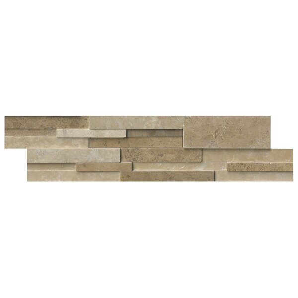 Casa 6 x 24 Blend 3D Honed Panel Random Sized Natural Stone Splitfaced Tile in Cream by MSI