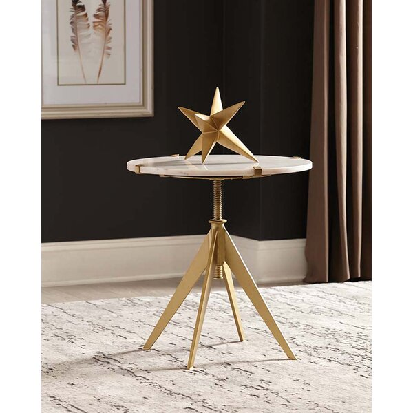 Torney Round Adjustable Accent Table White and Gold by Mercer41