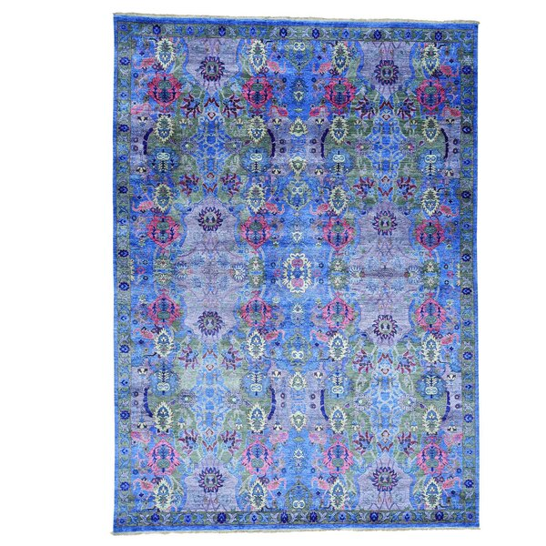 Crafts Hand-Knotted Denim Blue Area Rug by Bloomsbury Market