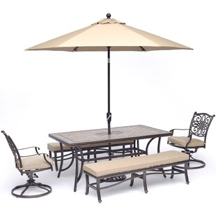 Bucci 5 Piece Dining Set with Umbrella By Fleur De Lis Living