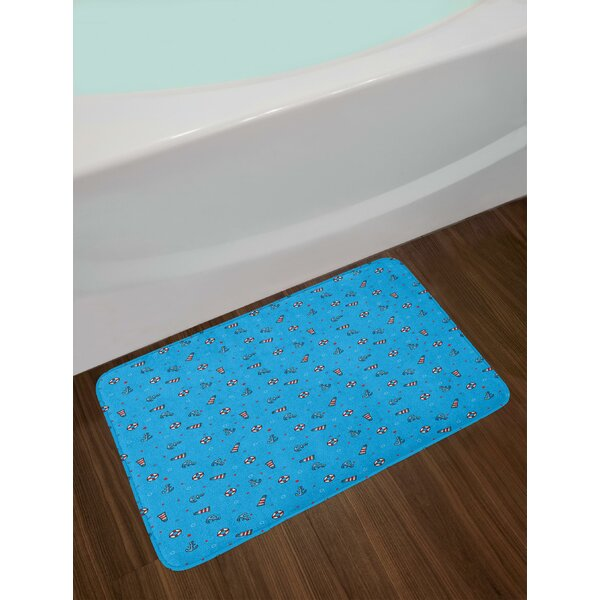 Polka Dotted Background Life Buoys Anchored Abstract Marine Vintage Nautical Bath Rug by East Urban Home
