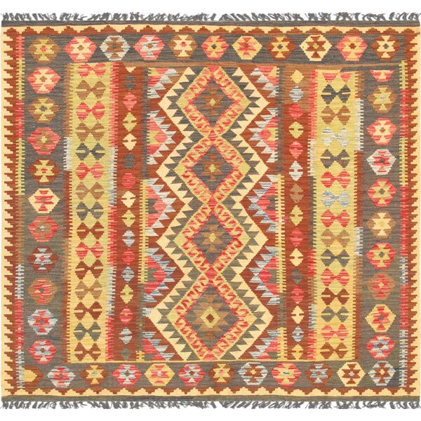 Anatolian Kilim Hand-Woven Wool Red/Yellow Area Rug by Pasargad