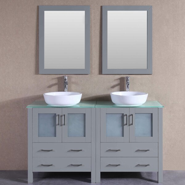 Maili 59 Double Bathroom Vanity Set with Mirror by Bosconi