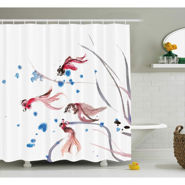 Snyder Chinese Traditional Ink Painting Stylized Koi Fish Figures Asian Ethnic Artwork Shower Curtain by Winston Porter