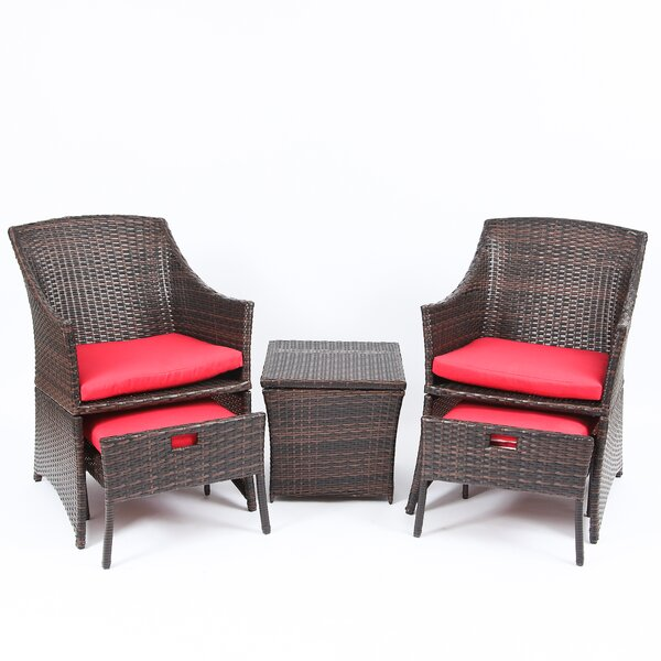 Osburn Saving Conversation Set 5 Piece Rattan with Cushions by Wrought Studio