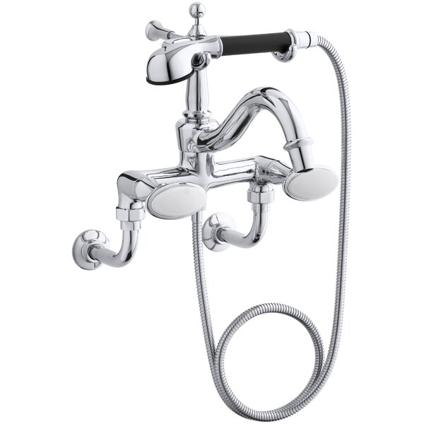Antique Floor- or Wall-Mount Bath Faucet with Oval Handles and Handshower by Kohler