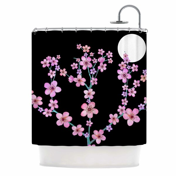 Julia Grifol Cherry Blossom At Night Shower Curtain by East Urban Home