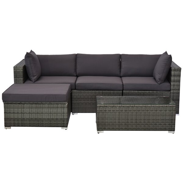 5 Piece Sectional Seating Group With Cushions By Outsunny by Outsunny Discount