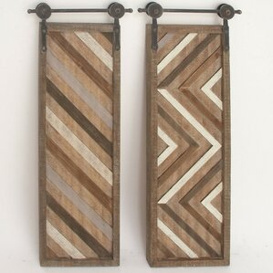 2 piece panel wood metal wall dcor set set of 2