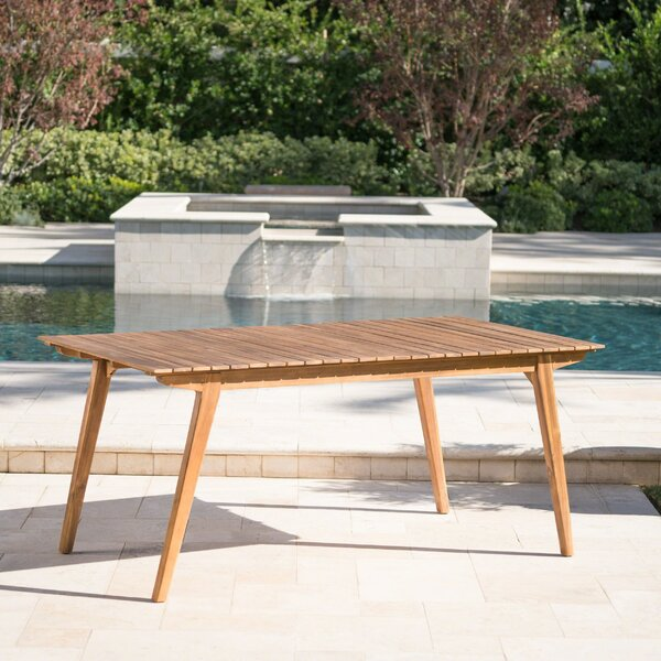 Lindquist Outdoor Wooden Dining Table by Union Rustic