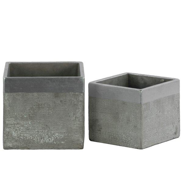 Square 2-Piece Cement Pot Planter Set by Urban Trends