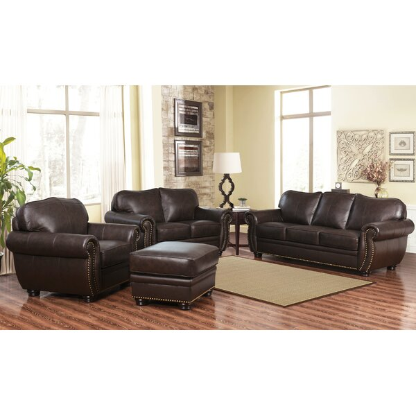 Hotchkiss 4 Piece Leather Living Room Set by World Menagerie