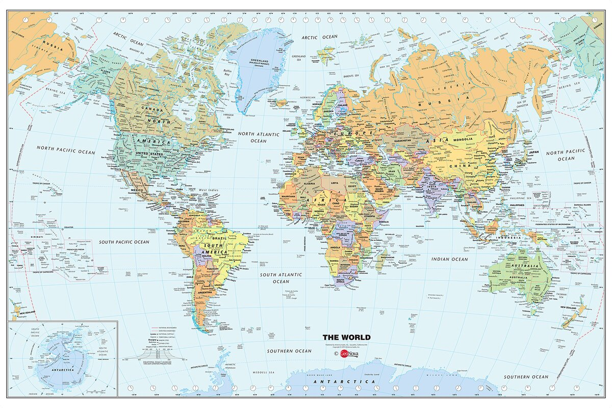 World Dry Erase Map Wall Mural Part 61