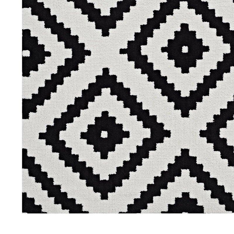 Shaunda Abstract Diamond Black White Area Rug