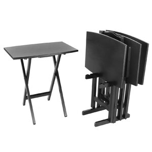 Wonderful Bay Shore Curve Edge Tray Table Set With Stand (Set Of 4). Black
