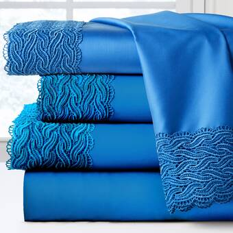 Eastern Accents Grace Lace Egyptian Quality 300 Thread Count 100 Cotton Sheet Set Wayfair