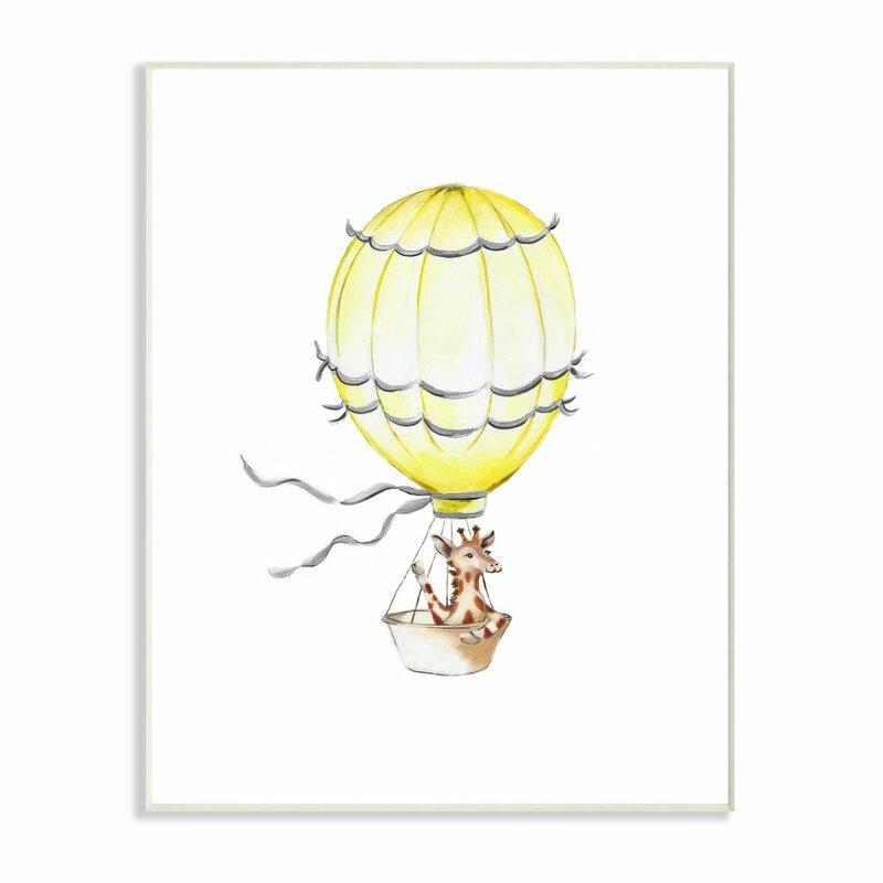 Isabelle Max Segars Cute Cartoon Giraffe In Hot Air Balloon Painting Kids Wall Décor Wayfair Ca