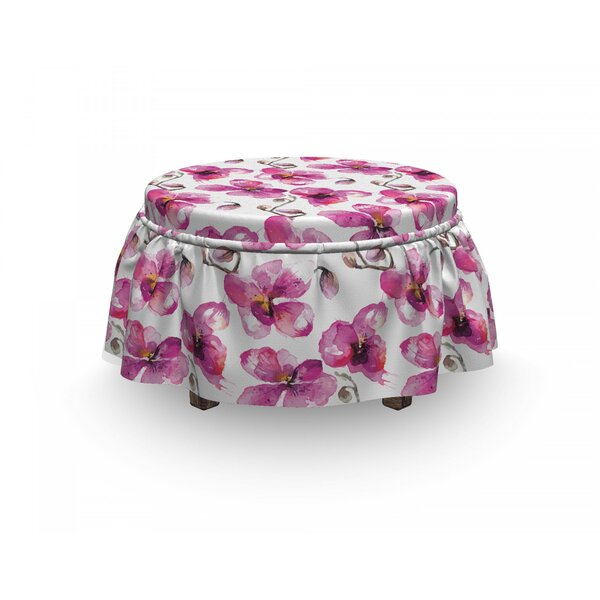 Orchids Feng Shui 2 Piece Box Cushion Ottoman Slipcover Set By East Urban Home