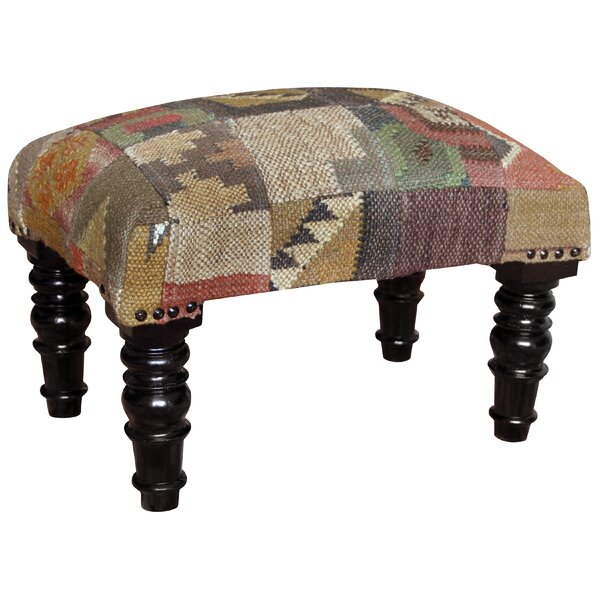 Handmade Wooden Kilim Upholstered Stool by Herat Oriental