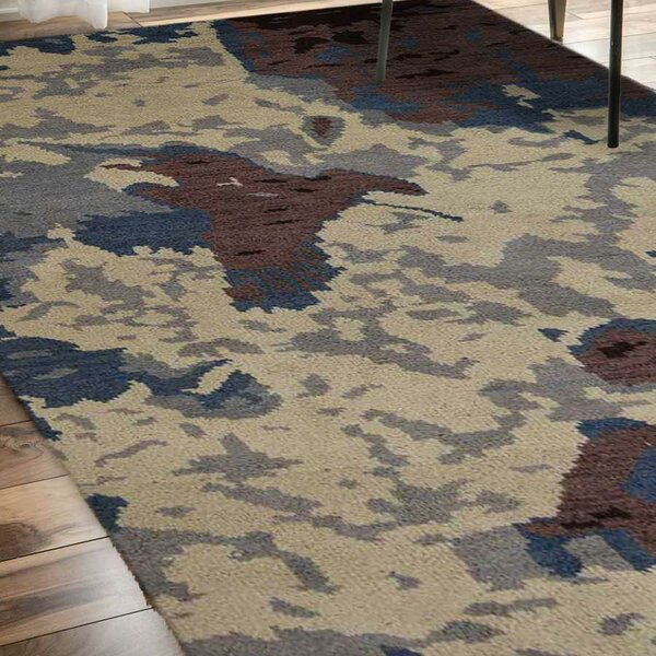 Bellicent Hand-Knotted Wool Beige/Brown/Blue Area Rug by World Menagerie