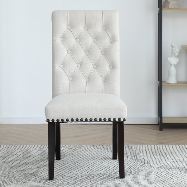 Review Fatima Tufted Linen Upholstered Parsons Chair (Set Of 2)