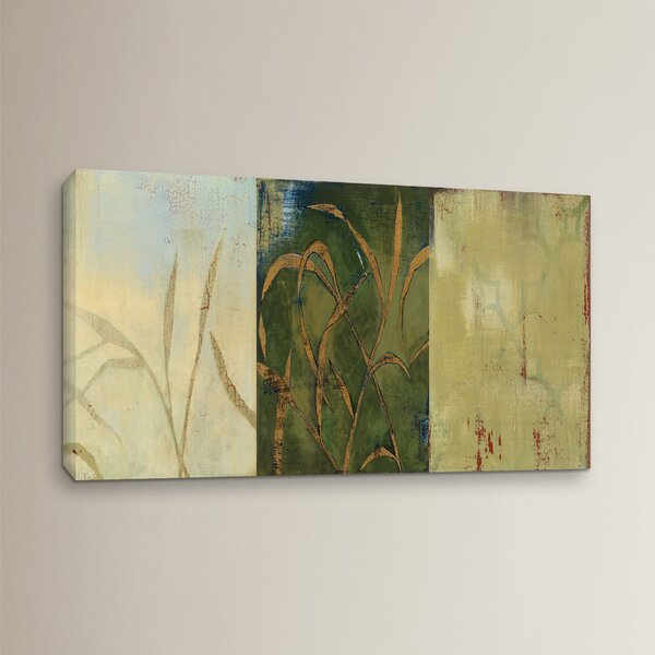 Gold Grass Painting Print on Wrapped Canvas by Alcott Hill