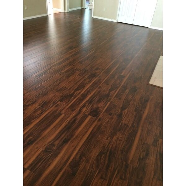 6 x 48 x 12mm Teak Laminate Flooring in Smooth Brown by Yulf Design & Flooring