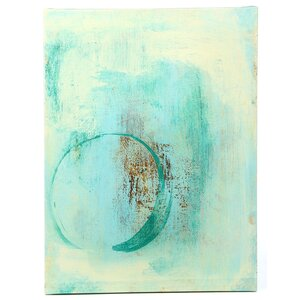 Pontius Teal Enso Painting Print on Wrapped Canvas by Mercury Row