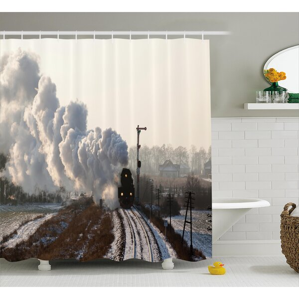 Tillson Steam Engine Train on Rails Winter Snow Landscape Steel Industrial Theme Rural Town Print Shower Curtain by Red Barrel Studio