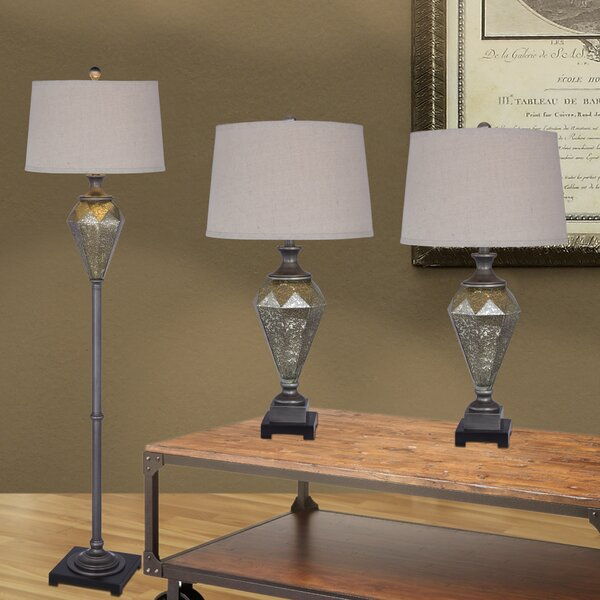 Bonnert 3 Piece Metal and Mercury Glass Table and Floor Lamp Set by House of Hampton