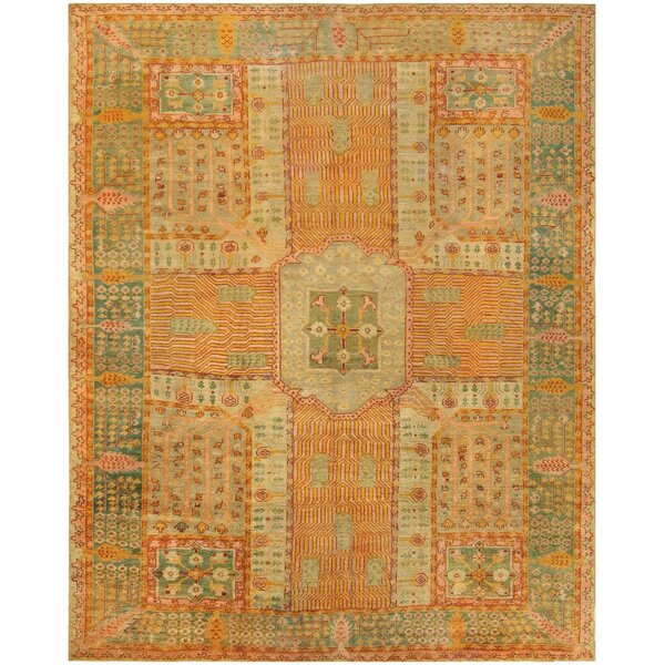 One-of-a-Kind Turkish Hand-Knotted Orange 12' x 15'5 Wool Area Rug
