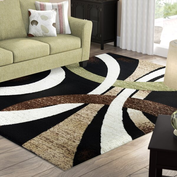 Coleen Abstract Black/Beige Area Rug by Winston Porter
