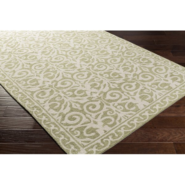 Bastien Hand-Hooked Olive/Beige Area Rug by One Allium Way