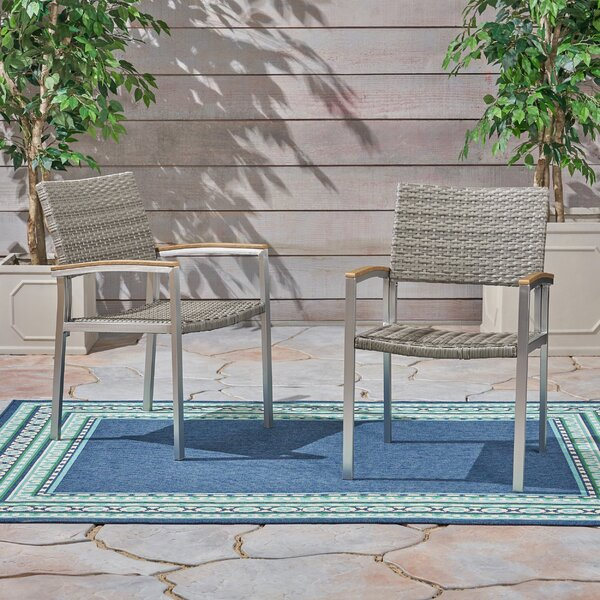 Keeney Outdoor Patio Dining Chair (Set of 2) by Winston Porter Winston Porter