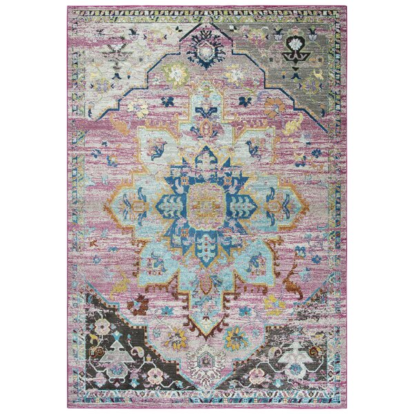 Elliot Pink/Gray/Blue Area Rug by Bungalow Rose