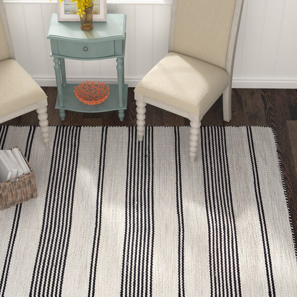 Alicea Hand-Woven Black Area Rug by Three Posts