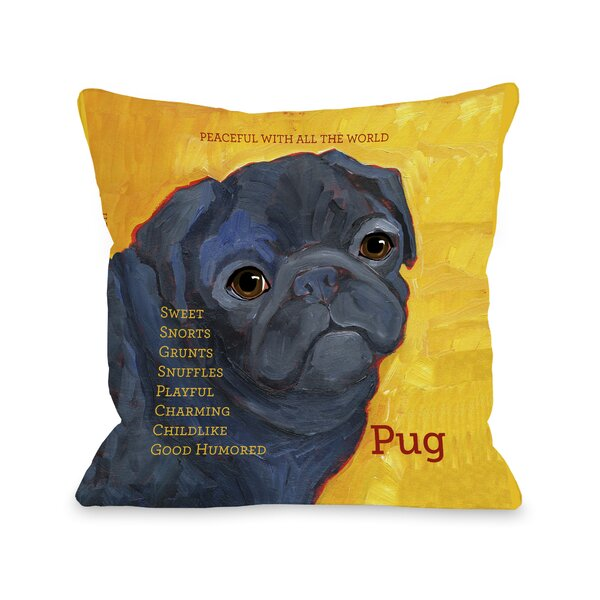 Doggy Décor Pug Throw Pillow by One Bella Casa